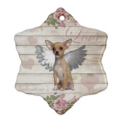 Vintage Chihuahua   Valentines Day Snowflake Ornament (two Sides) by Valentinaart