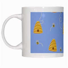 Bee Pattern White Mugs by Valentinaart