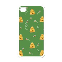 Bee Pattern Apple Iphone 4 Case (white) by Valentinaart