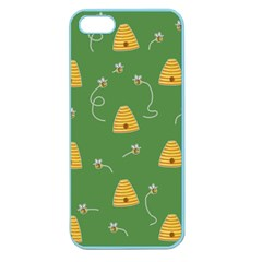 Bee Pattern Apple Seamless Iphone 5 Case (color) by Valentinaart