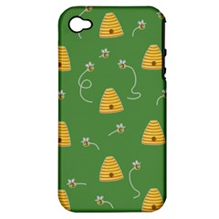 Bee Pattern Apple Iphone 4/4s Hardshell Case (pc+silicone) by Valentinaart