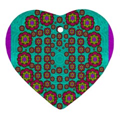 The Worlds Most Beautiful Flower Shower On The Sky Heart Ornament (two Sides) by pepitasart