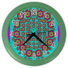 The Worlds Most Beautiful Flower Shower On The Sky Color Wall Clocks by pepitasart