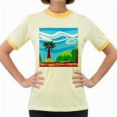 Landscape Background Nature Sky Women s Fitted Ringer T Shirts