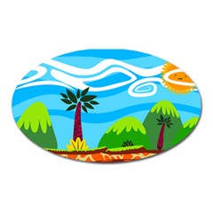 Landscape Background Nature Sky Oval Magnet
