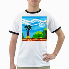 Landscape Background Nature Sky Ringer T Shirts