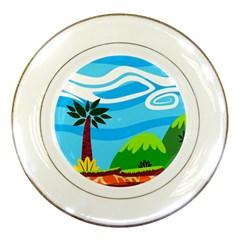 Landscape Background Nature Sky Porcelain Plates
