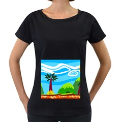 Landscape Background Nature Sky Women s Loose Fit T Shirt (black)
