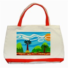 Landscape Background Nature Sky Classic Tote Bag (red)