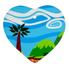 Landscape Background Nature Sky Heart Ornament (two Sides)