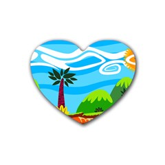 Landscape Background Nature Sky Rubber Coaster (heart)