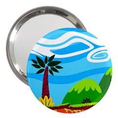 Landscape Background Nature Sky 3  Handbag Mirrors