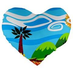 Landscape Background Nature Sky Large 19  Premium Heart Shape Cushions