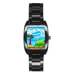 Landscape Background Nature Sky Stainless Steel Barrel Watch by Nexatart