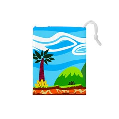 Landscape Background Nature Sky Drawstring Pouches (small)