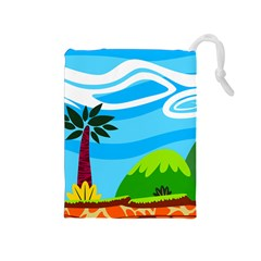 Landscape Background Nature Sky Drawstring Pouches (medium)