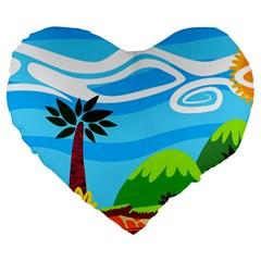 Landscape Background Nature Sky Large 19  Premium Flano Heart Shape Cushions