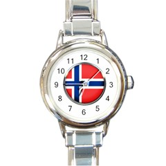 Norway Country Nation Blue Symbol Round Italian Charm Watch