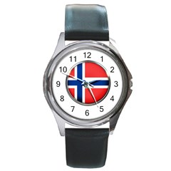 Norway Country Nation Blue Symbol Round Metal Watch