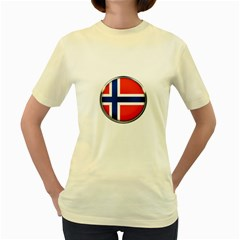 Norway Country Nation Blue Symbol Women s Yellow T Shirt