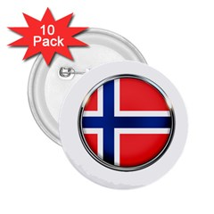 Norway Country Nation Blue Symbol 2 25  Buttons (10 Pack)  by Nexatart