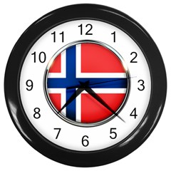 Norway Country Nation Blue Symbol Wall Clocks (black)