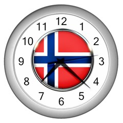 Norway Country Nation Blue Symbol Wall Clocks (silver)
