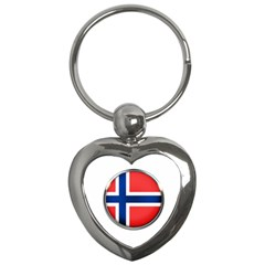 Norway Country Nation Blue Symbol Key Chains (heart)