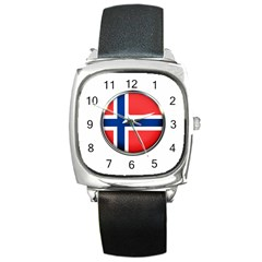 Norway Country Nation Blue Symbol Square Metal Watch