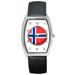Norway Country Nation Blue Symbol Barrel Style Metal Watch