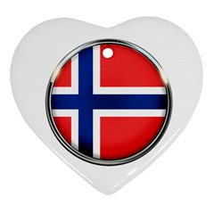 Norway Country Nation Blue Symbol Heart Ornament (two Sides)