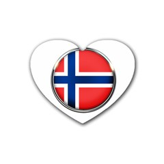 Norway Country Nation Blue Symbol Rubber Coaster (heart)
