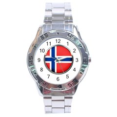 Norway Country Nation Blue Symbol Stainless Steel Analogue Watch