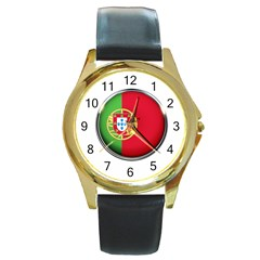Portugal Flag Country Nation Round Gold Metal Watch