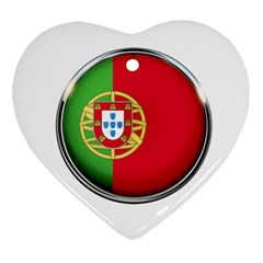 Portugal Flag Country Nation Heart Ornament (two Sides)