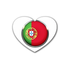 Portugal Flag Country Nation Heart Coaster (4 Pack)