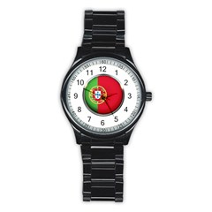 Portugal Flag Country Nation Stainless Steel Round Watch