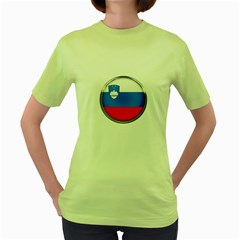 Slovenia Flag Mountains Country Women s Green T Shirt