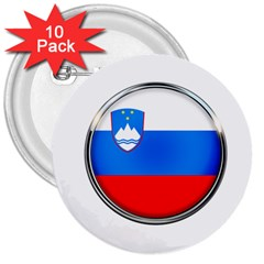 Slovenia Flag Mountains Country 3  Buttons (10 Pack)