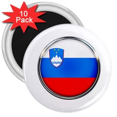 Slovenia Flag Mountains Country 3  Magnets (10 Pack)