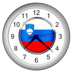 Slovenia Flag Mountains Country Wall Clocks (silver)