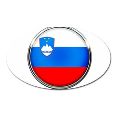 Slovenia Flag Mountains Country Oval Magnet by Nexatart