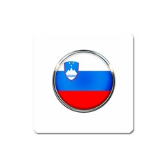 Slovenia Flag Mountains Country Square Magnet by Nexatart