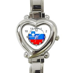 Slovenia Flag Mountains Country Heart Italian Charm Watch by Nexatart