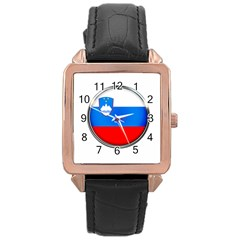 Slovenia Flag Mountains Country Rose Gold Leather Watch