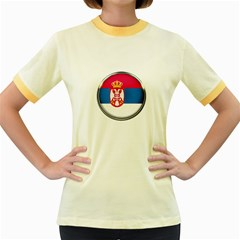 Serbia Flag Icon Europe National Women s Fitted Ringer T Shirts