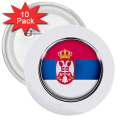 Serbia Flag Icon Europe National 3  Buttons (10 Pack)