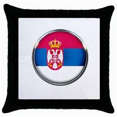 Serbia Flag Icon Europe National Throw Pillow Case (black)