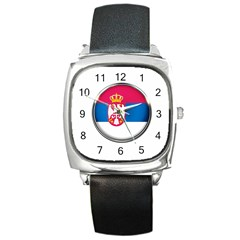 Serbia Flag Icon Europe National Square Metal Watch by Nexatart