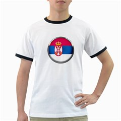Serbia Flag Icon Europe National Ringer T Shirts
